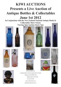KIWI AUCTIONS Presents a Live Auction of Antique Bottles & Collectables June 1st 2012