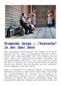 Klagende Geige Anatevka in der Oper Bonn