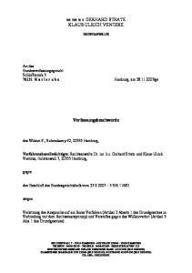KLAUS-ULRICH VENTZKE. Verfassungsbeschwerde