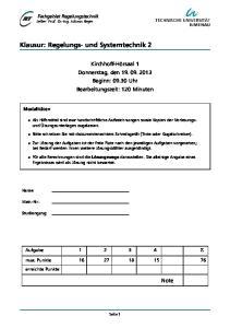 Klausur: Regelungs- und Systemtechnik 2