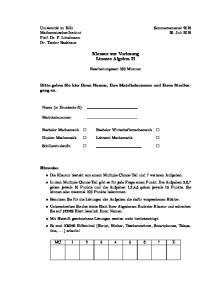 Klausur zur Vorlesung Lineare Algebra II