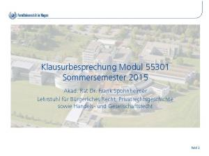 Klausurbesprechung Modul Sommersemester 2015