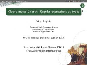Kleene meets Church: Regular expressions as types