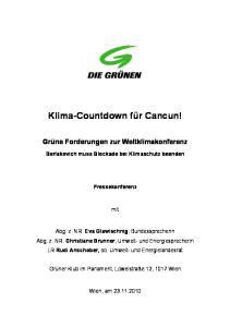 Klima-Countdown für Cancun!