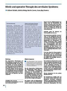 Klinik und operative Therapie des zervikalen Syndroms