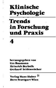Klinische Psychologie Trends in Forschung und Praxis
