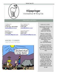 Klipspringer Voetslaanklub Hiking Club