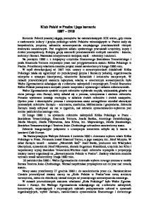 Klub Polski w Pradze i jego korzenie