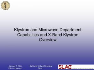 Klystron and Microwave Department Capabilities and X-Band Klystron Overview