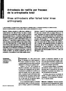 Knee arthrodesis after failed total knee arthroplasty