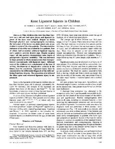 Knee Ligament Injuries in Children