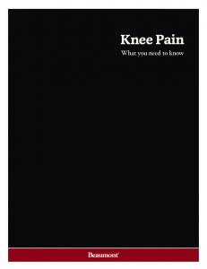 Knee Pain. What you need to know