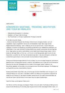 KÖNIGREICH MUSTANG - TREKKING, MEDITATION UND YOGA IM HIMALAYA