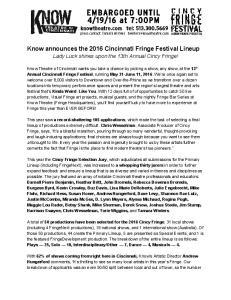 Know announces the 2016 Cincinnati Fringe Festival Lineup