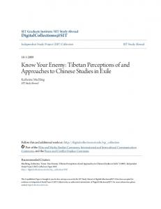 Know Your Enemy: Tibetan Perceptions of and Approaches to Chinese Studies in Exile
