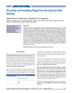 Knowing and Avoiding Plagiarism During Scientific Writing