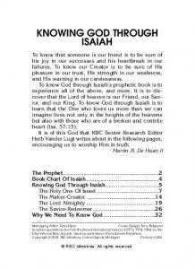 KNOWING GOD THROUGH ISAIAH