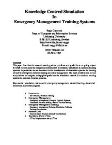 Knowledge Centred Simulation In Emergency Management Training Systems