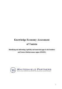Knowledge Economy Assessment of Tunisia