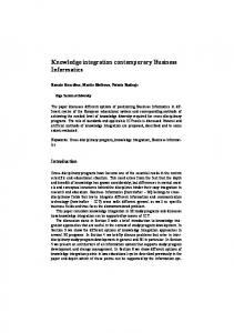 Knowledge integration contemporary Business Informatics