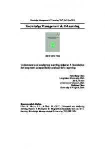 Knowledge Management & E-Learning