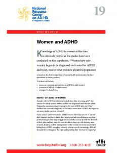 Knowledge of ADHD in women at this time