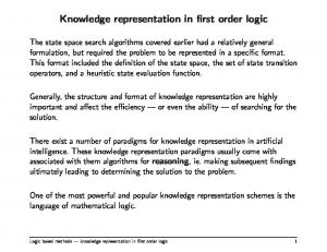 Knowledge representation in first order logic