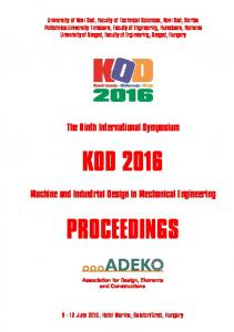 KOD 2016 PROCEEDINGS. The Ninth International Symposium. Machine and Industrial Design in Mechanical Engineering