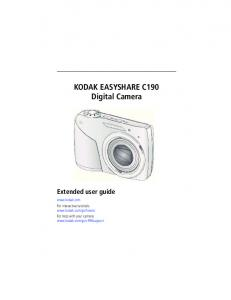 KODAK EASYSHARE C190 Digital Camera Extended user guide