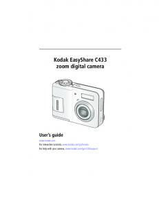 Kodak EasyShare C433 zoom digital camera User s guide