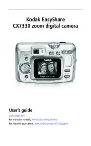 Kodak EasyShare CX7330 zoom digital camera User s guide