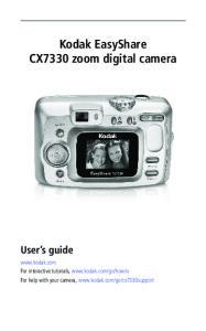 Kodak EasyShare CX7330 zoom digital camera User s guide