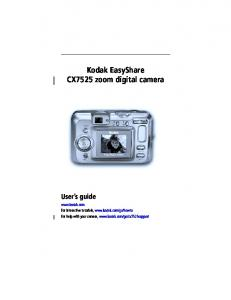 Kodak EasyShare CX7525 zoom digital camera User s guide