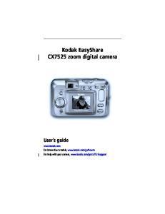 Kodak EasyShare CX7525 zoom digital camera User s guide