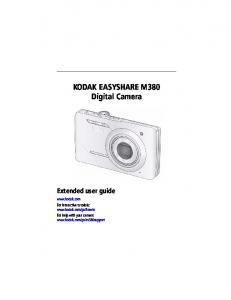 KODAK EASYSHARE M380 Digital Camera Extended user guide
