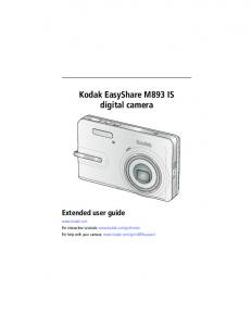 Kodak EasyShare M893 IS digital camera Extended user guide