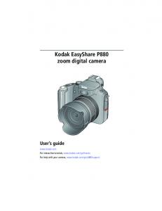 Kodak EasyShare P880 zoom digital camera User s guide