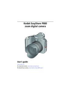 Kodak EasyShare P880 zoom digital camera User s guide