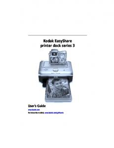 Kodak EasyShare printer dock series 3 User s Guide