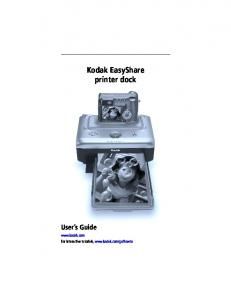 Kodak EasyShare printer dock User s Guide