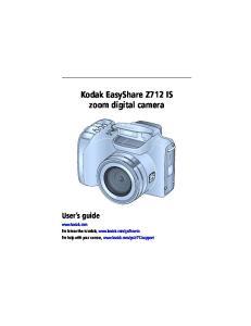 Kodak EasyShare Z712 IS zoom digital camera User s guide