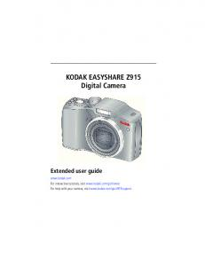 KODAK EASYSHARE Z915 Digital Camera Extended user guide