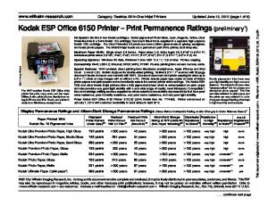 Kodak ESP Office 6150 Printer Print Permanence Ratings (preliminary 1 )