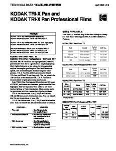 KODAK TRI-X Pan and KODAK TRI-X Pan Professional Films