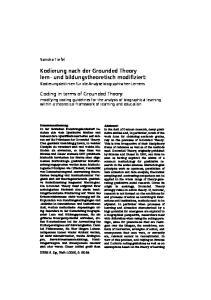 Kodierung nach der Grounded Theory lern- und bildungstheoretisch modifiziert: