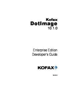 Kofax. DotImage Enterprise Edition Developer s Guide