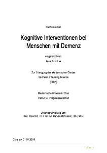 Kognitive Interventionen bei Menschen mit Demenz