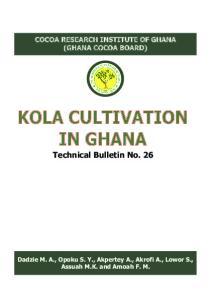 KOLA CULTIVATION IN GHANA