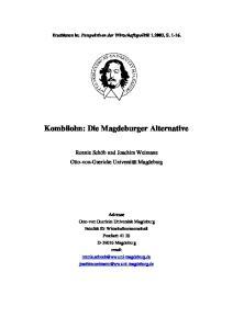Kombilohn: Die Magdeburger Alternative