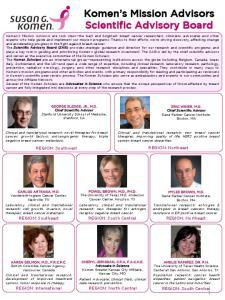 Komen s Mission Advisors Scientific Advisory Board